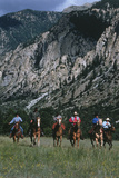Cowboys Riding Horses, Chalk Cliffs, CO Photographic Print by Paul Gallaher