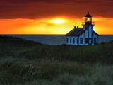 Sunset, Point Cabrillo Lighthouse, California, USA Photographic Print