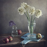 Still Life with White and Purple Flowers and Peach Photographic Print by Copyright Anna Nemoy(Xaomena)