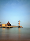 Floating Restaurant with a Pier and Light House Photographic Print by photography by azrudin