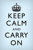 Keep Calm and Carry On, Faded Light Blue Posters