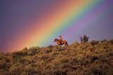 COWBOY AND Rainbow, PONDEROSA Ranch, OREGON Photographic Print by Darrell Gulin