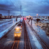 Freight Train on Los Angeles River Mainline Photographic Print by Hal Bergman Photography