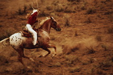 Cowgirl on Horseback with Lasso Photographic Print by Bruce Forster
