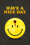 Have a Nice Day Smiley Face with Bullet Hole Black Posters