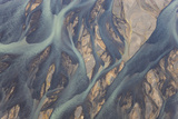 Aerial View of River Estuary Water, Iceland Photographic Print by Peter Adams