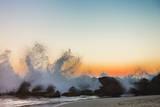 Waves Crashing on Rocky Beach at Sunset Photographic Print by Markus Henttonen