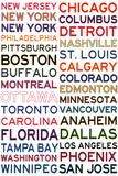 National Hockey League Cities on White Kunstdruck