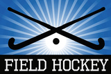 Field Hockey Crossed Sticks Blue Sports Posters