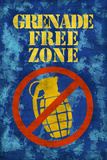 Jersey Shore Grenade Free Zone Blue TV Prints