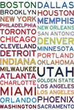 National Basketball Association Cities on White Posters