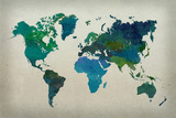 World Map Watercolor (Cool) Reprodukcje