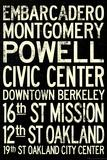 San Francisco Oakland BART Stations Subway Travel Poster Poster