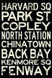 Boston MBTA Stations Vintage Subway Travel Poster Poster