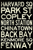 Boston MBTA Stations Vintage Subway Retro Metro Travel Posters