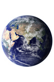 Planet Earth Eastern Hemisphere on White Print