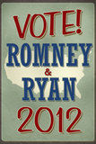 Vote Romney & Ryan 2012 Retro Print