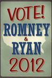 Vote Romney & Ryan 2012 Retro Print