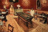 Vincent Van Gogh Night Cafe with Pool Table Póster