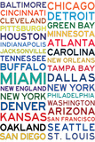 National Football League Cities on White Posters