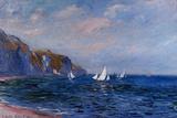Scogliere e barche a vela a Pourville Poster di Claude Monet