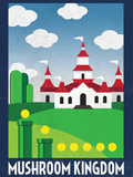 Mushroom Kingdom Retro Travel Poster Stampa