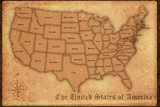 United States Vintage Style Map Print