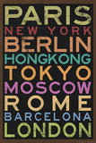 Cities of the World Colorful Retro Metro Travel Poster