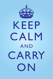 Keep Calm and Carry On Bright Blue Prints