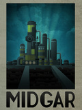 Midgar Retro Travel Stampa
