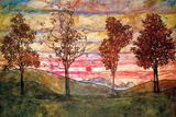 Four Trees Poster by Egon Schiele