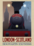 London- Scotland Hogwarts Express Retro Travel Posters