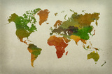 World Map Watercolor (Warm) Plakater