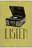 Listen Vintage Record Player Print