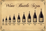 Wine Bottle Size Chart Plakáty