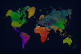World Map Watercolor (Dark) Plakat