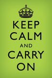 Keep Calm and Carry On, Faded Medium Green Prints