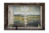 Painting in Window on Macarthur Blvd, Oakland, CA (Seashore Landscape) Photographic Print by Henri Silberman
