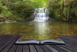 Creative Concept Image of Flowing Forest Waterfall Coming out of Pages in Magical Book Photographic Print by  Veneratio