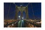 On Brooklyn Bridge Night 2 (Walkway, Arches) Photographic Print by Henri Silberman
