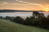 Layers of Fog over Autumn Agricultural Landscape Print by  Veneratio