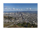 Twin Peaks View of San Francisco, CA 1 (City with Bay and Clouds) Photographic Print by Henri Silberman