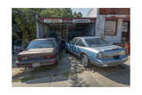 Old Garage with Cars for Washing and Greasing (Roxboro, NC) Photographic Print by Henri Silberman