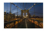 On Brooklyn Bridge Night 3 (Walkway, Arches, Lower Manhattan) Photographic Print by Henri Silberman