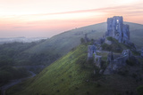 Romantic Fantasy Magical Castle Ruins against Stunning Vibrant Sunrise Posters by  Veneratio