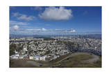 Twin Peaks View of San Francisco, CA 4 (City with Bay and Clouds) Photographic Print by Henri Silberman