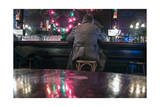 Happy Hour at Olde Towne Bar with Christmas Light (Man Drinking, New York City) Photographic Print by Henri Silberman