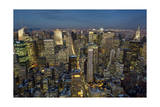 New York City, Top View 12 (View of Manhattan at Night) Photographic Print by Henri Silberman