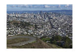 Twin Peaks View of San Francisco, CA 2 (City with Bay and Clouds) Photographic Print by Henri Silberman
