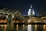 Long Exposure of St Paul's Cathedral in London at Night with Reflections in River Thames Poster by  Veneratio